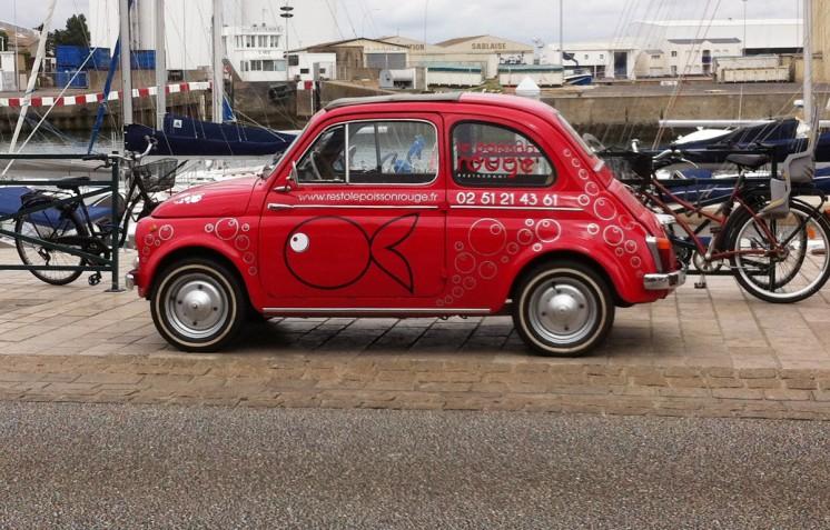 Marquage Fiat 500 Le Poisson Rouge - Contraste communication - Les Sables d'Olonne - Vendée