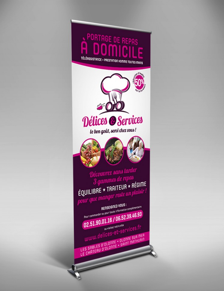 Roll-up Délices & Services - Contraste communication - les Sables d''Olonne - Vendée