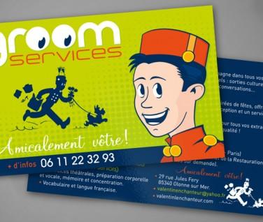 Création logo- impression flyer - Groom Services - Contraste communication - Sables d'Olonne